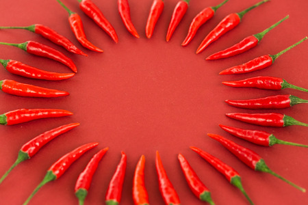 capsaicin: red hot chili peppers, popular spices concept - decorative circle made from beautiful red hot chili pepper pods on red background, in the middle is free space for text, top view, flat lay Stock Photo