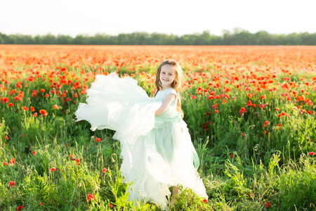 girl model, poppies, childhood, fashion, children, nature and summer concept - on the field of poppies smiling beautiful little girl model in a blue ball dress , she raises the lush hem dress