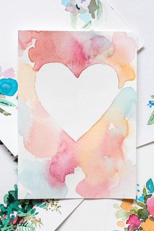design, creativity, holidays concept. there is handmade pattern for valentine in all lovers day that placed among other different paintings with floral decorations