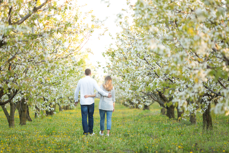relationships, love, nature concept. there is a newly married couple that is walking through the garden of apple trees in bloom, they are hugging and enjoying the scenery