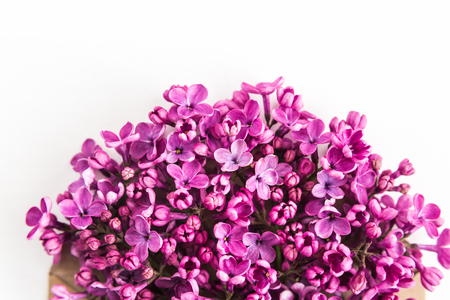 White background half filled with close up beautiful pirple lilac flowers. top view. flat lay. Concept of love, proposal, congratulation and spring.