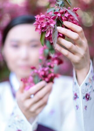 Cropp of Asian girl in a traditional kimono. Focus on on hands gently touch and hold a branch of blossom sakura tree. Concept of freshness, spring and a subtle pleasant aroma
