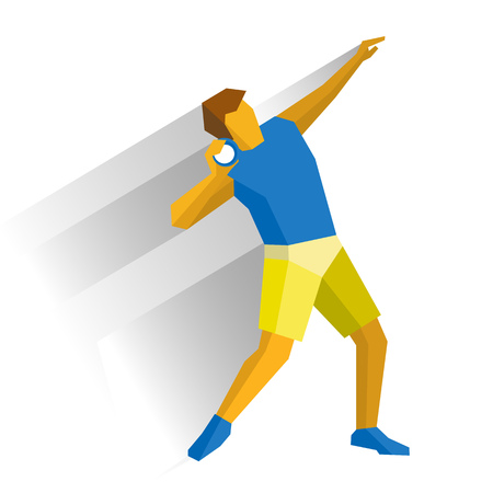 shot put: Shot put athlete isolated on white background with shadows. International sport games infographic. Track-and-field athletics, flat style  clip art.