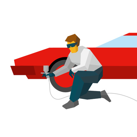 Mechanic spraying paint on red sport car from pulveriser. Spray painting auto with airbrush. Flat style  illustration isolated on white background.