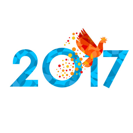 chinese astrology: New Year 2017 concept - fire rooster silhouette fly inside zero digit. Chinese zodiac sign for winter holiday. Flat style vector astrology symbol on white background. With patterns.
