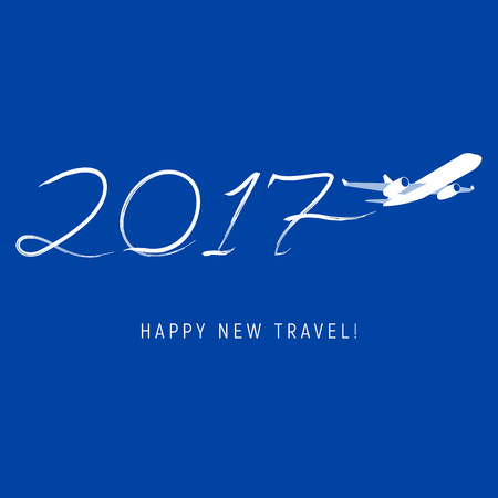 New Year 2017 concept - airplane left a trace in the form of numbers. Flat vector clip art. Greeting card or poster template - plain write digits in the sky. With place for text.