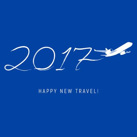 New Year 2017 concept - vliegtuig liet een spoor in de vorm van getallen. Flat vector clip art. Groet kaart of poster template - plain write cijfers in de lucht. Met plaats voor tekst.