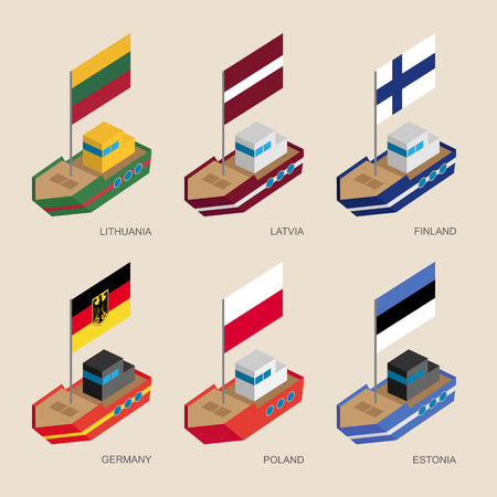 Set of isometric 3d ships with flags of European countries. Illustration