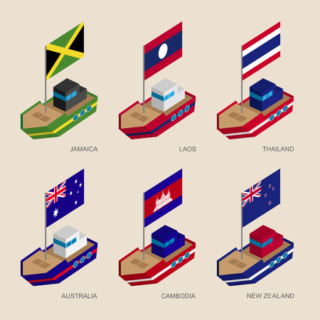 Set of isometric 3d ships with flags of Asian countries.