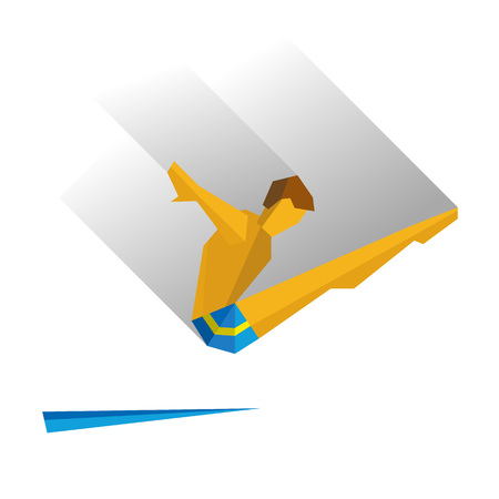 jumping into water: Diver jumping from a springboard. Athlete isolated on white background with shadows.