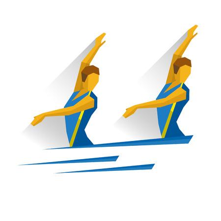 natación sincronizada: Natación sincronizada. Atleta aislado en fondo blanco con sombras. Juegos deportivos internacionales infográficos.