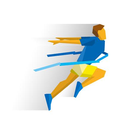 accomplish: Running athlete crosses a finish line ribbon. Athlete isolated on white background with shadows.