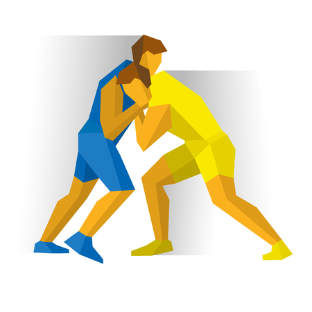 Greco-Roman Freestyle Wrestling. Athlete isolated on white background with shadows. Vektorové ilustrace