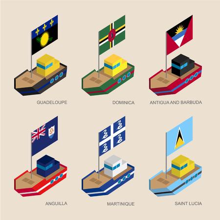 Isometric ships with flags: Guadeloupe, Dominica, Antigua, Martinique, Anguilla