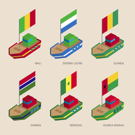 Set of isometric 3d ships with flags of African countries. Cartoon vessels with standards - Mali, Sierra Leone, Guinea, Gambia, Senegal, Guinea-Bissau. Sea transport icons for infographics.