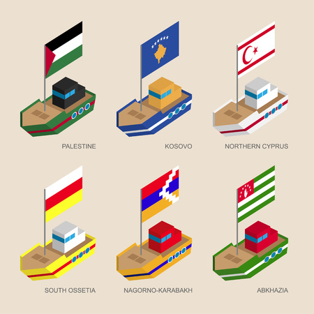 Set of isometric 3d ships with flags of partially recognised states. Vessels with standards - Palestine, Kosovo, Northern Cyprus, Abkhazia, South Ossetia, Nagorno-Karabakh. Sea transport icons.