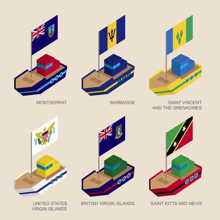 Set of isometric 3d ships with flags of Caribbean countries. Vessels with standards - Montserrat, Barbados, Virgin Islands, Saint Kitts and Nevis, Saint Vincent and Grenadines. Sea transport icons. Illustration