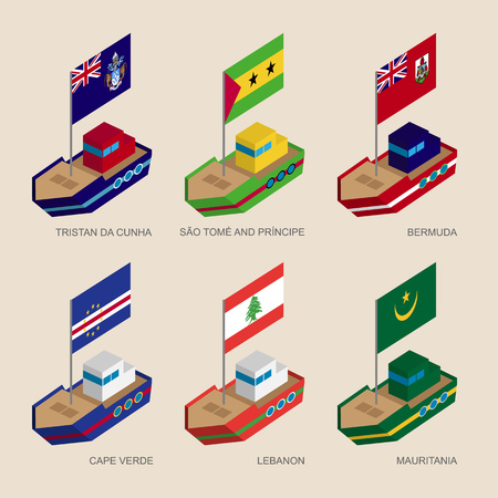 mauritania: Set of isometric 3d ships with flags of countries in Atlantic. Vessels with standards - Mauritania, Cape Verde, Lebanon, Tristan da Cunha, Sao Tome, Bermuda. Sea transport icons for infographics.