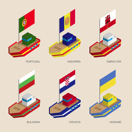 Set of isometric 3d ships with flags of countries in Central Europe. Cartoon Vessels with standards - Portugal, Andorra, Ukraine, Gibraltar, Croatia, Bulgaria. Sea transport icons for infographics. Illustration