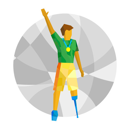 Physically disabled winner with medal. Sport for people with disabilities - vector clip art.