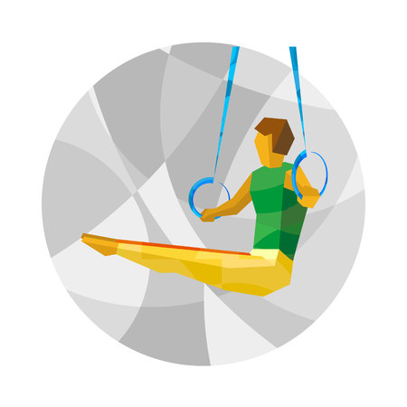 somersault: Artistic Gymnastics - Rings. Gymnast on gray background with patterns. International sport games infographic. Flat style vector clip art.