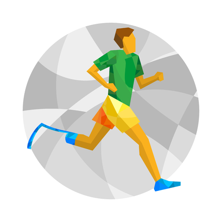 amputation: Physically disabled runner with abstract patterns. Track-and-field athletics for people with disabilities - vector clip art. Flat sport infographics icon.