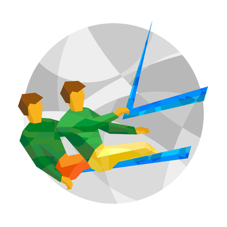 Physically disabled sailors with abstract patterns. Sailing for people with disabilities - vector clip art. Flat sport infographics icon.