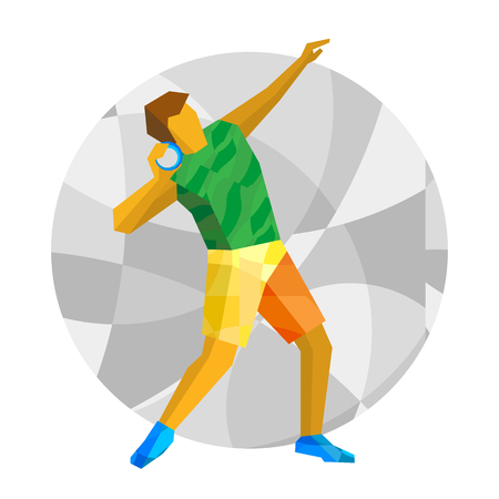 shot put: Shot put the with gray mosaic background. Flat athlete icon. Sport Infographic - Shot Put vector clip art.