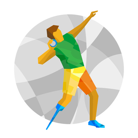shot put: Physically disabled sportsman throwing shot. Track-and-field athletics for people with disabilities - vector clip art. Flat sport infographics icon. Illustration