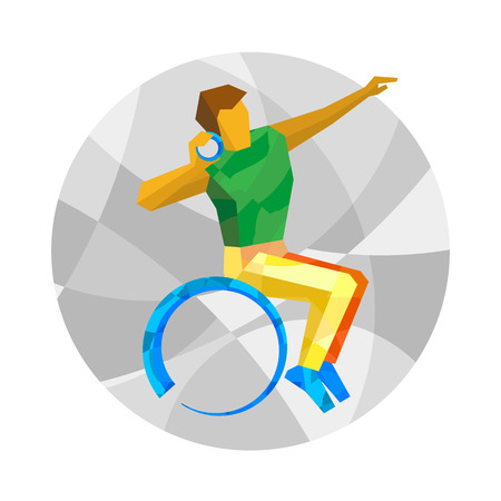 shot put: Wheelchair sportsman throwing shot. Track-and-field athletics for people with disabilities - vector clip art. Flat sport infographics icon.
