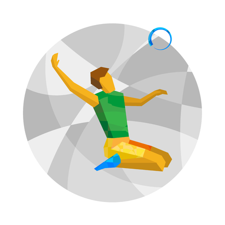 Physically disabled volleyball palyer with abstract patterns. Sitting volleyball for people with disabilities - vector clip art. Flat sport infographics icon.