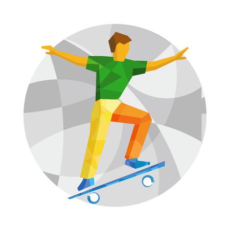 Skateboarder jump on skateboard. Skater doing tricks on board. Flat style vector clip art on mosaic background. Illustration