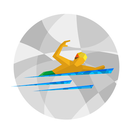 Physically disabled swimmer. Swimming for people with disabilities - vector clip art. Flat sport infographics icon.