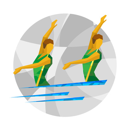 natación sincronizada: Two girl swimmers on gray background with abstract patterns. Flat athlete icon - vector clip art. Sport Infographic - Synchronized Swimming.
