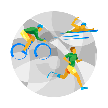 Triathlon for physically disabled people. Athletes with disabilities - vector image clip art.