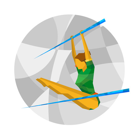 Uneven bars competition with abstract patterns. Girl athlete on gray mosaic background. Artistic Gymnastics flat clip art.