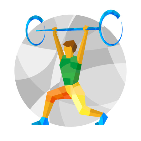 Weightlifter with abstract patterns. Flat athlete icon - vector clip art. Sport Infographic - Weightlifting.