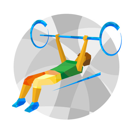 Physically disabled weightlifter with abstract patterns. Weightlifting for people with disabilities - vector clip art. Flat sport infographics icon.