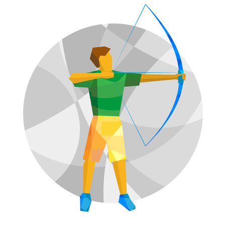 Shooting archer. Athlete with bow on gray background with patterns. International sport games infographic. Archery flat style vector clip art.