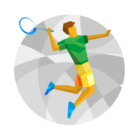Badminton player jumping and swinging racket. Colorful athlete isolated on white background. International sport games infographic. Flat style vector clipart with patterns. Ilustração