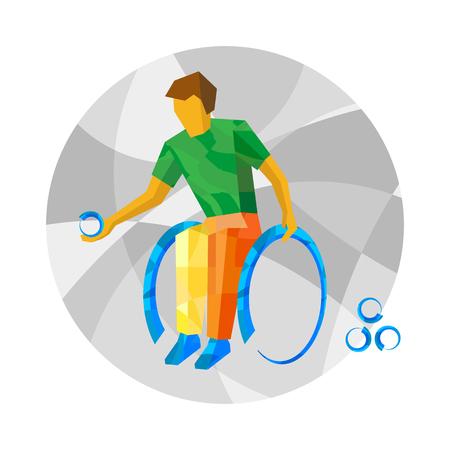 Fysisch gehandicapte boccia speler met abstracte patronen. Rolstoel boccia voor mensen met een handicap - vector illustraties. Platte sport infographics pictogram.