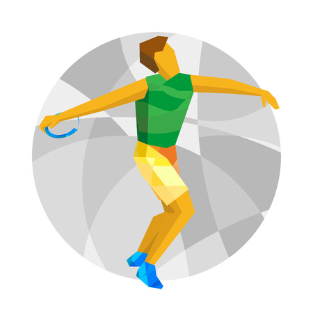 lanzamiento de disco: Athlete throwing the discus with abstract patterns. Flat athlete icon. Sport Infographic - Discus Throw vector clip art.