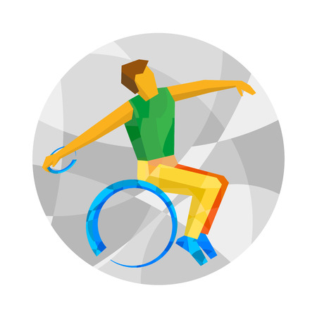 lanzamiento de disco: Wheelchair sportsman throwing discus. Track-and-field athletics for people with disabilities - vector clip art. Flat sport infographics icon.