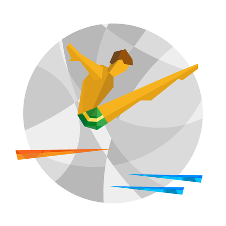 El buzo salta de la torre. Colorido atleta en el fondo de mosaico. Infografía de juegos deportivos internacionales. Clipart de vector de estilo plano con patrones. Vectores