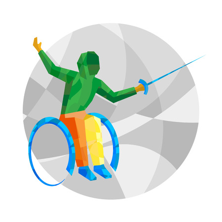 Physically disabled fencer with abstract patterns. International Games flat sport signs. Fencing - vector clip art.  イラスト・ベクター素材