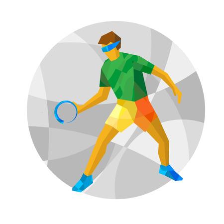 Lichamelijk gehandicapte goalball speler met abstracte patronen. Blinddoek sportman - vector illustraties. Platte sport infographics pictogram.