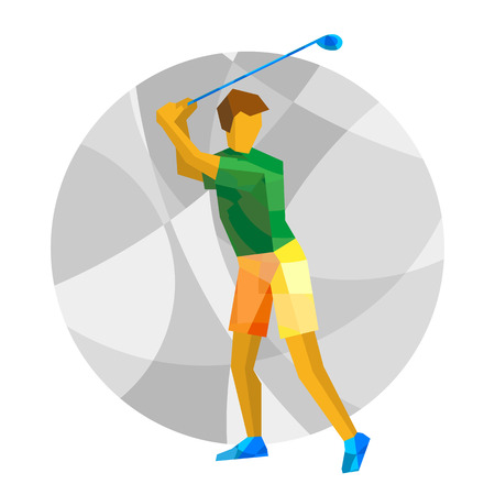 Summer games - Golf. Golfer with abstract patterns. International sport games infographic. Flat style vector clip art.