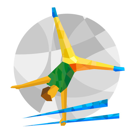 Artistic Gymnastics with abstract patterns. Flat athlete icon. Brazil Sport Infographic Artistic Gymnastics - Vector image clip art.