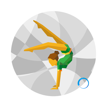 Rhythmic Gymnastics with ball on gray mosaic background. Flat athlete icon. Sport Infographic - Rhythmic Gymnastics vector clip art.