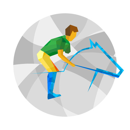 Physically disabled horseman with abstract patterns. Equestrian for people with disabilities - vector clip art. Flat sport infographics icon.
